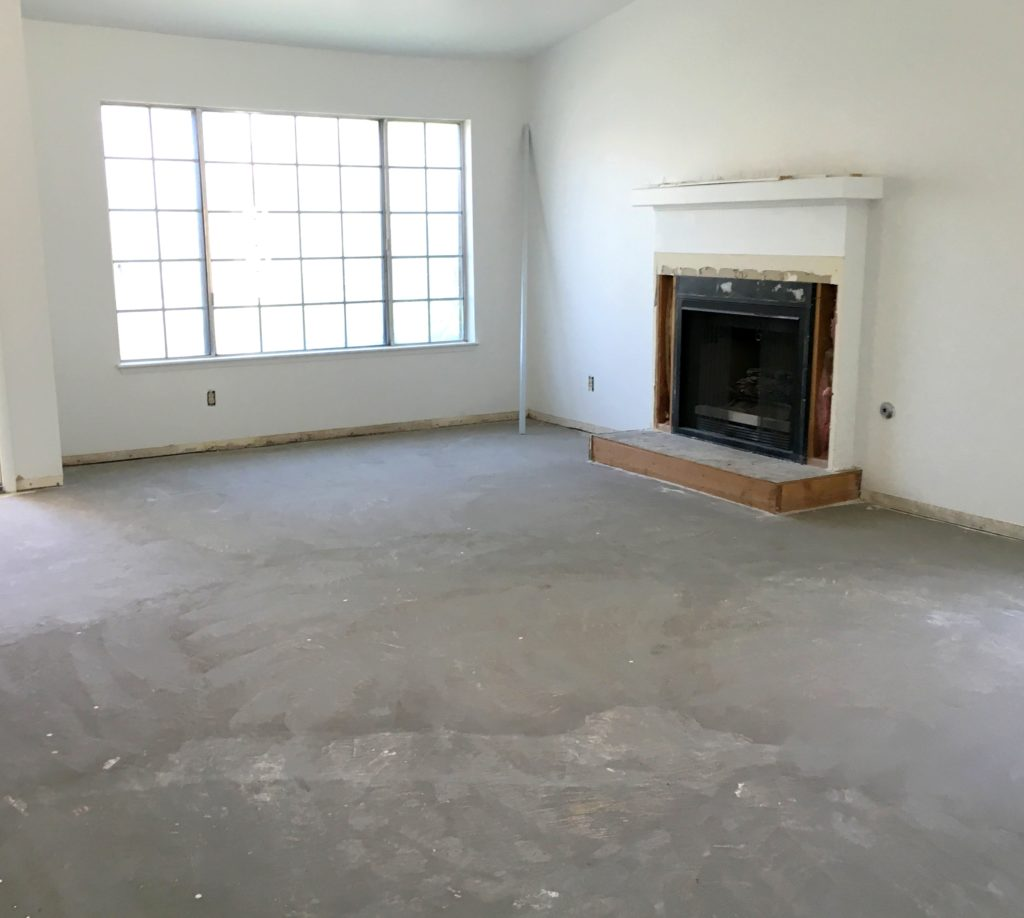 prepped living room floors