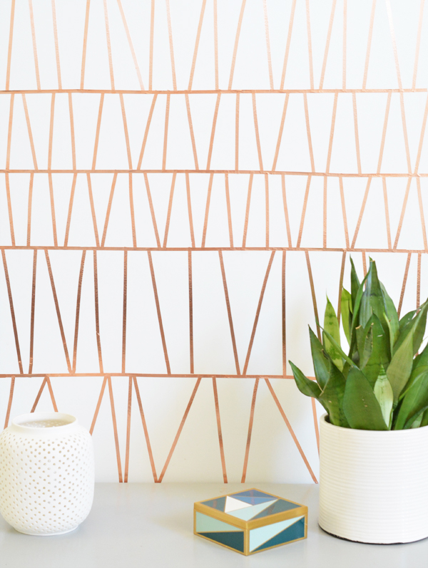 copper tape geometric wall treatment