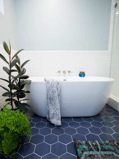 dark blue hexagon tile floor