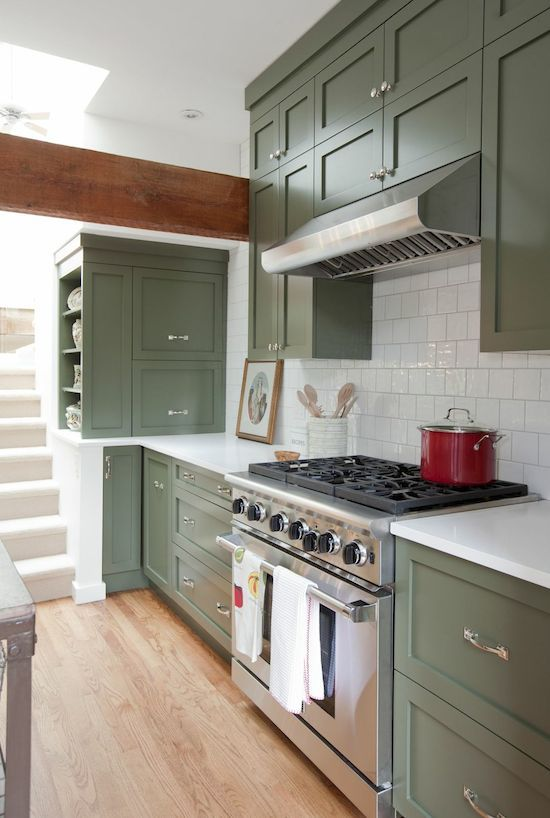 Green kitchen cabinets centsational girl for Green kitchen cabinets