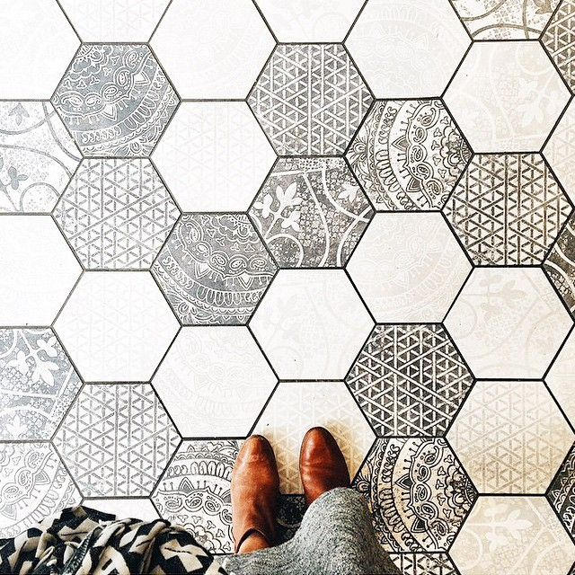 Hexagon bathroom floor tile centsational style - Bathroom floor tiles design ...