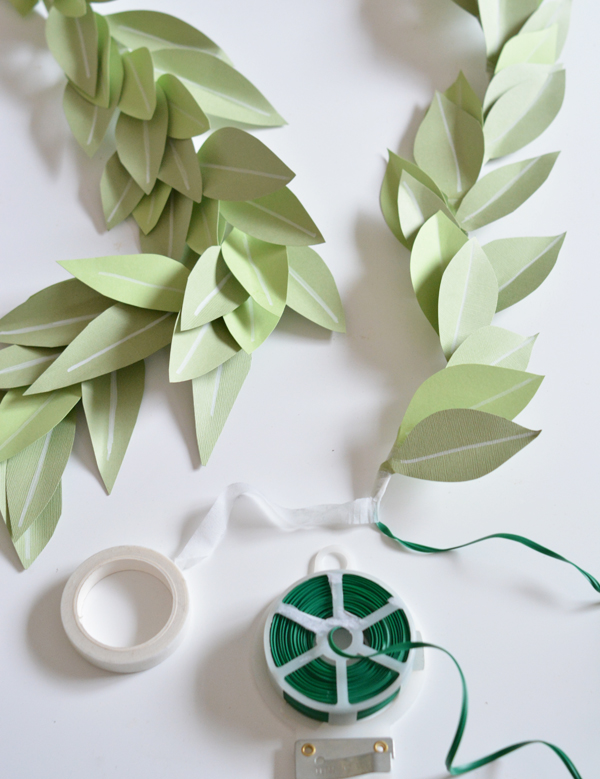 Diy paper leaf garland centsational style the floral tape doesnt have quite enough adhesive to hold the paper leaves securely to the wire so i used a dab of quick dry glue in between the small mightylinksfo