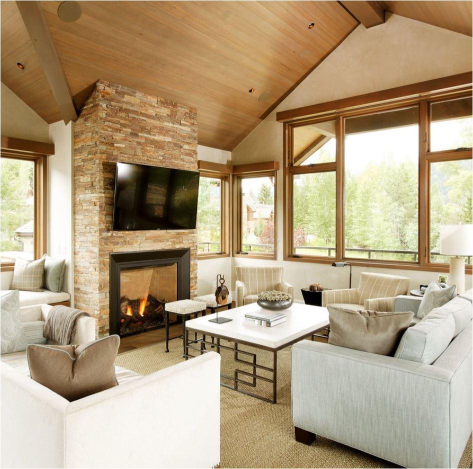 Stone Fireplace Crisp Architects: Modern Mountain Homes