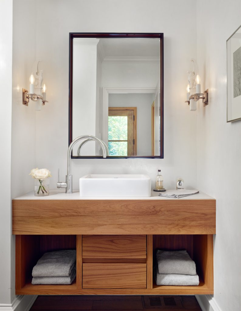 Wood bathroom vanities centsational style for Looking for bathroom vanities