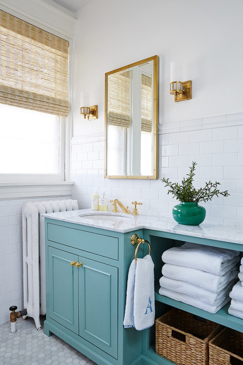 Blue Painted Bath Vanities | Centsational Style