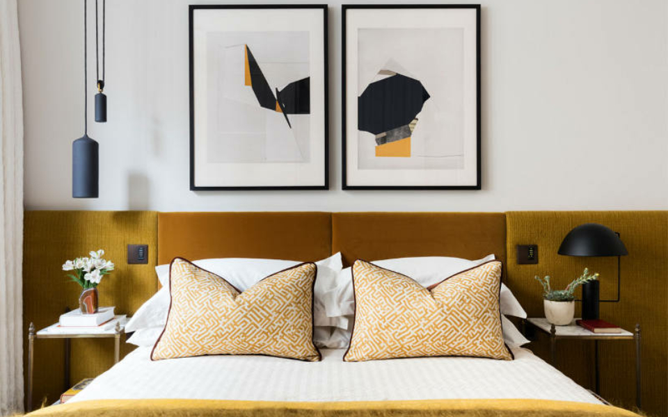 mustard yellow upholstered elongated headboard