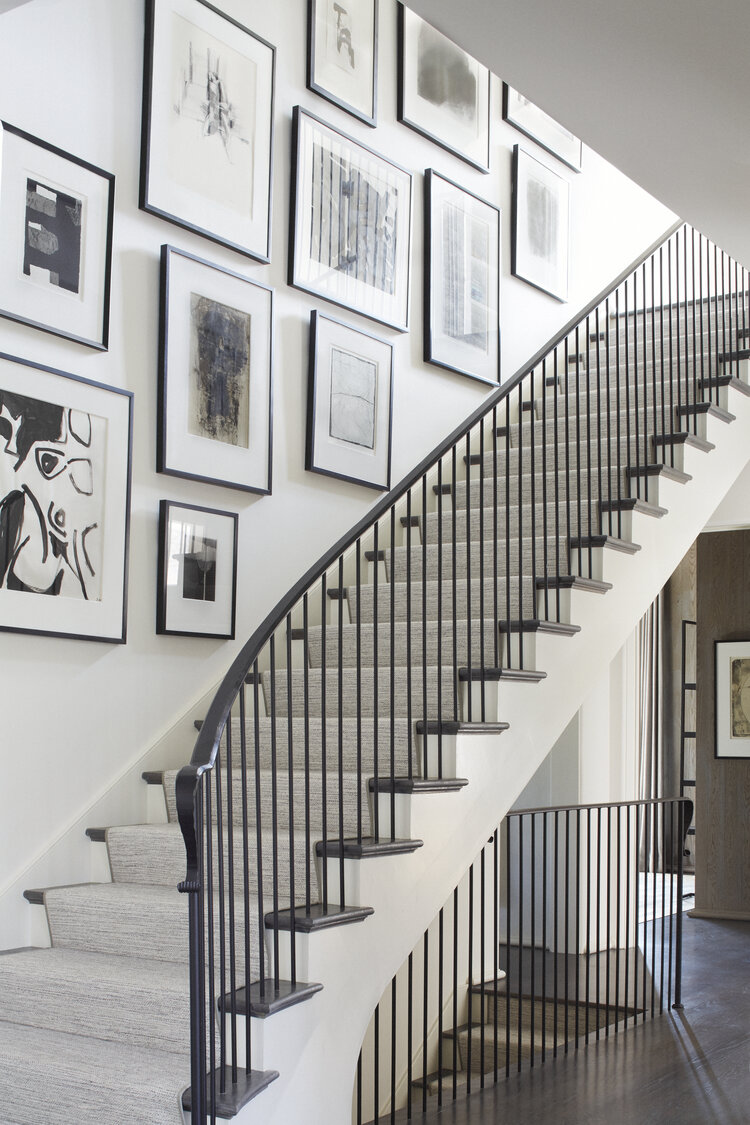 black and white art prints staircase gallery