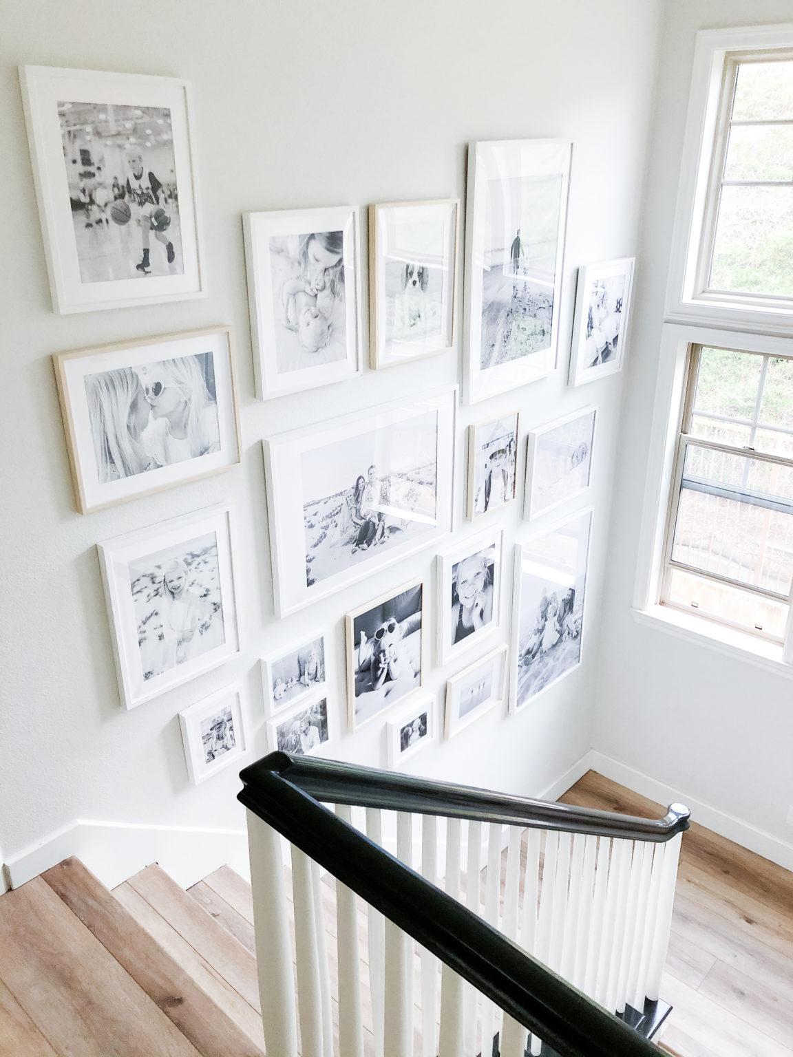 black and white photos staircase