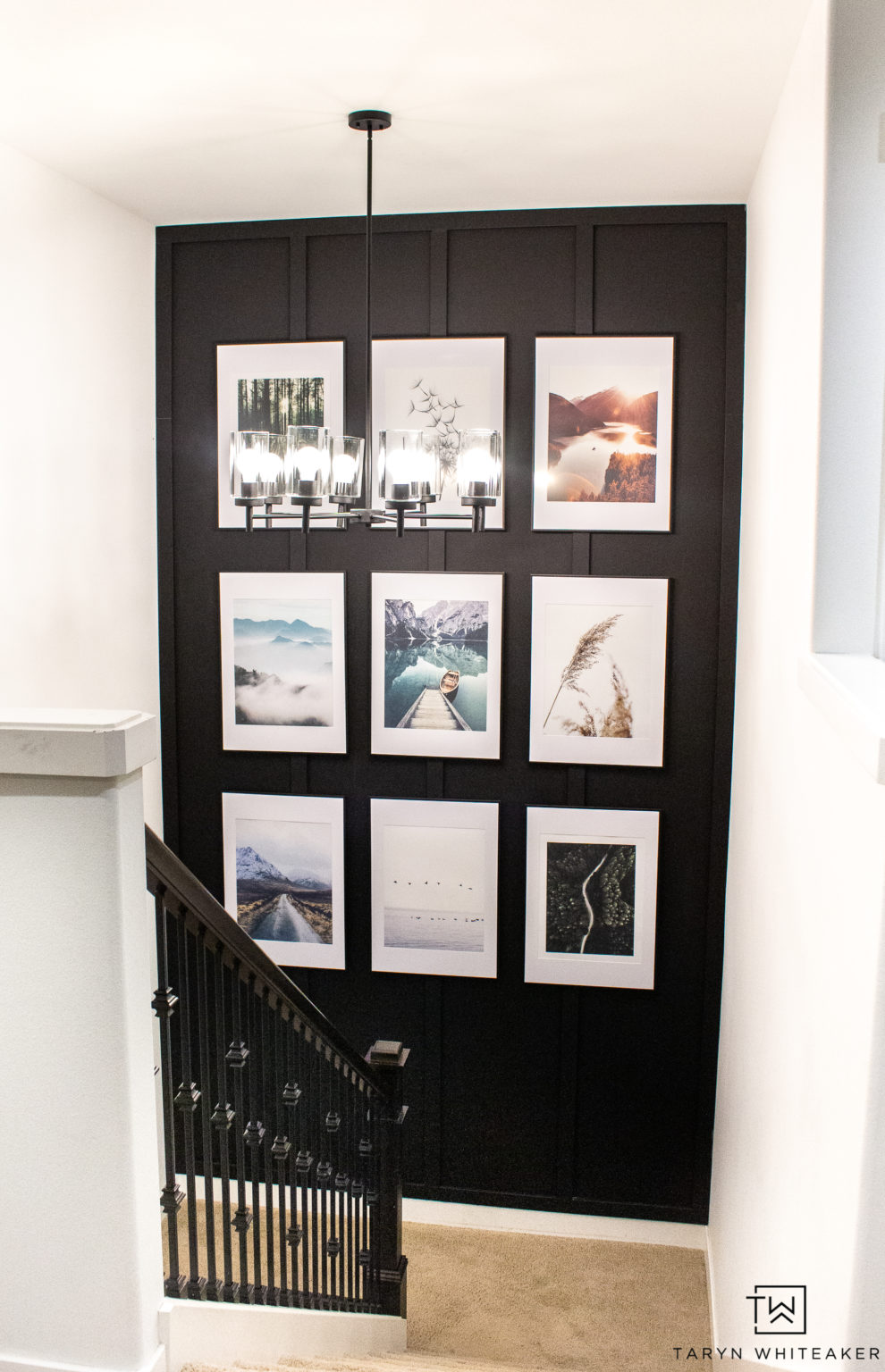 black feature wall white frame art prints